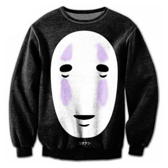 Harajuku Style Men Black 3D Hoodies Print Spirited Away Character Sweatshirt Graphicdresslliy-dresslliy
