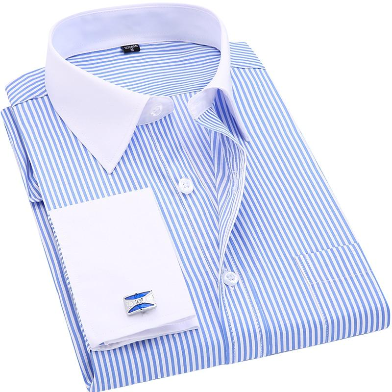 High Quality Striped Men French Cufflinks Casual Dress Shirts Long Sleeved Whitedresslliy-dresslliy