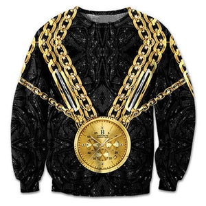 New Fashion Sweatshirt Men 3D Print Gold Chains Gold Watch Hoodie Autumndresslliy-dresslliy