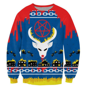 3D Printed Satan s Christmas Blue Sweatshirt Unisex Women Men Casual Clothingdresslliy-dresslliy