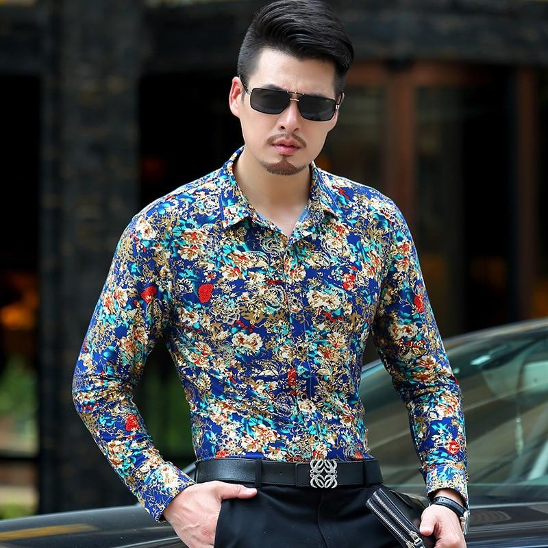 Baroque Gold Floral Shirt Men Luxury Design Mens Dress Shirts Chemise Hommedresslliy-dresslliy
