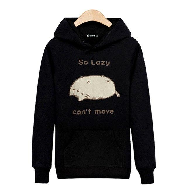 Lazy Cat Hooded Mens Hoodies and Sweatshirts 3xl in Black/Gray Sweatshirtdresslliy-dresslliy