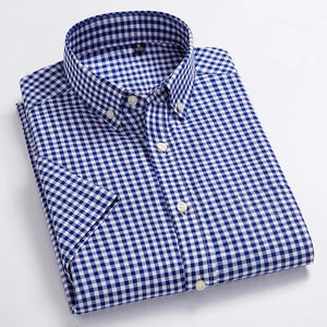 High Quality Men's Oxford Casual Shirts Leisure Design Plaid Men's Social Shirtsdresslliy-dresslliy