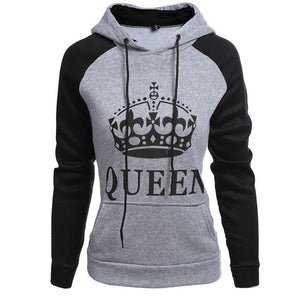 Men Hoodies King Queen Printed Sweatshirt Lovers Couples Hoodie Hooded Sweatshirt Casualdresslliy-dresslliy