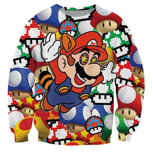 New Women Men Cartoon Sweatshirt 3D Print Letters Super Mario Kart dresslliy-dresslliy