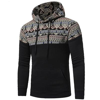 Autumn winter Tops Men's Fashion patchwork pattern Hoodies casual Pullovers The nationaldresslliy-dresslliy