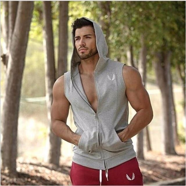 Men's Cotton Hoodie Sweatshirts Vest Zipper Fitness Bodybuilding Clothes Tank Top Sleevelessdresslliy-dresslliy