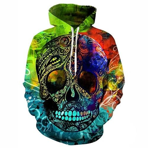 New design skull poker print Men/Women Hoodies Funny 3D Sweatshirts Autumndresslliy-dresslliy