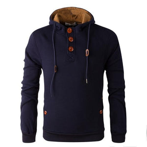 Brand 2018 Hoodie Wooden Buttons Solid Color Fleece Hoodies Men Fashion Tracksuitdresslliy-dresslliy