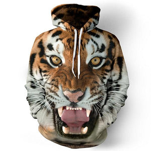 2017 Men hoodies hip hop sweatshirt funny 3D Tiger Lion fashion branddresslliy-dresslliy