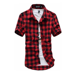 Red And Black Plaid Shirt Men Shirts 2018 New Summer Fashion Chemisedresslliy-dresslliy