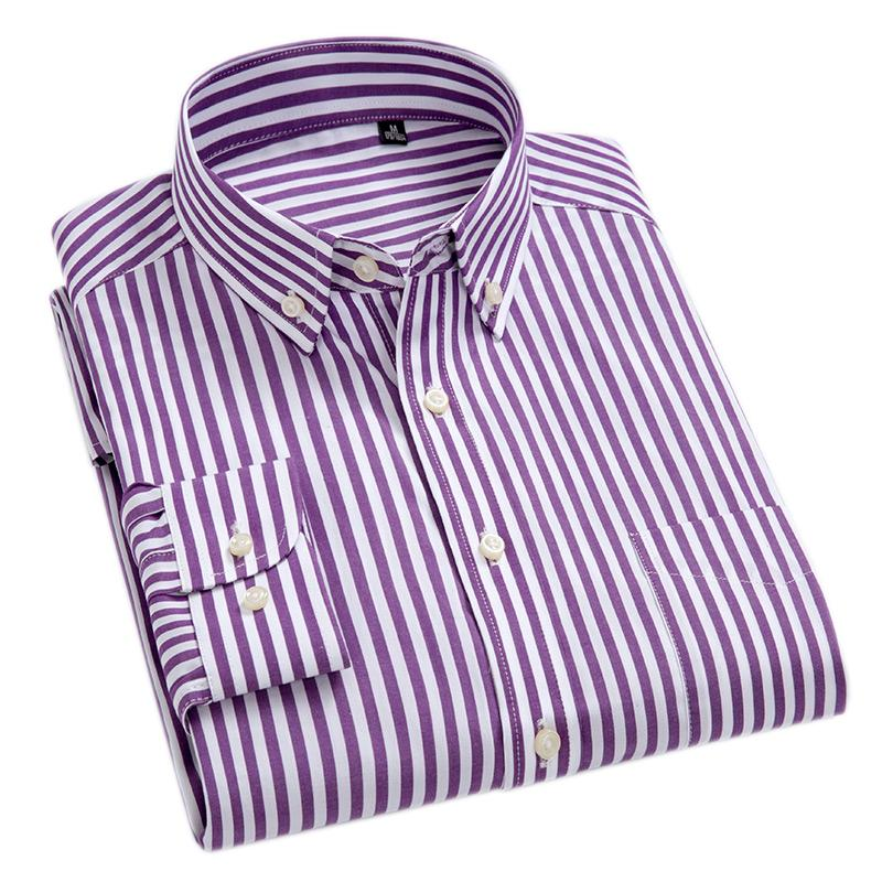 100% Cotton High-Grade Brand Men's Clothing Men Oxford Striped Social Shirts Leisuredresslliy-dresslliy