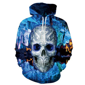 Hot hoody Blue 3d Skull Hoodies Men Women Fashion Winter Spring Sportsweardresslliy-dresslliy
