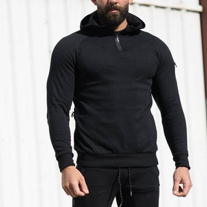 Autumn Winter Men Solid hoodie Fitness Bodybuilding Sweatshirts fashion Casual Hooded Zipperdresslliy-dresslliy