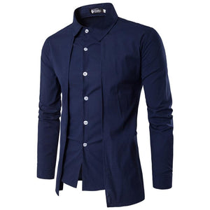 Men'S Shirts 2018 Long-Sleeved Casual Fake Two Pieces Chemise Homme Solid Arrivaldresslliy-dresslliy