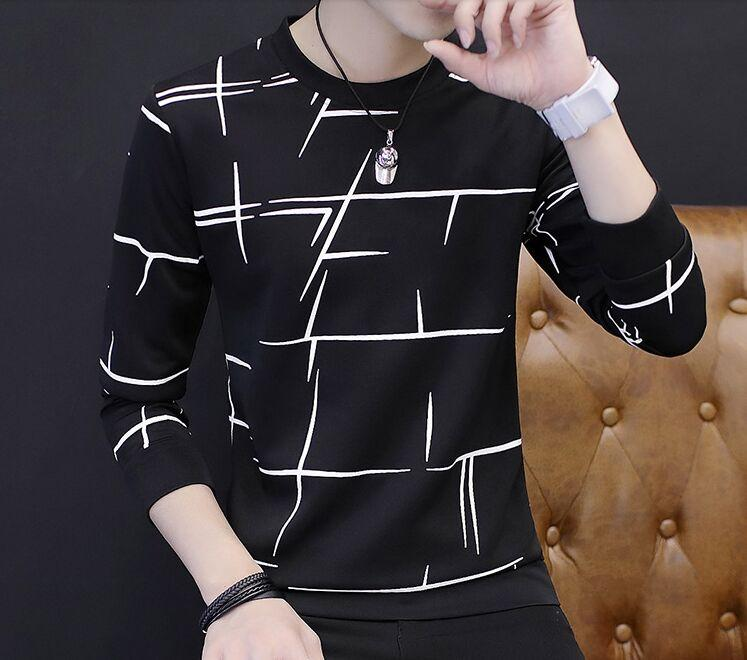 #88 Quality fall male neck long sleeved shirt sweater slim Blackdresslliy-dresslliy