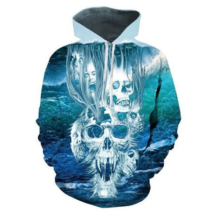 2017 sweatshirt Hoodies Men women Cool creative 3D print Skull Punisher Grimdresslliy-dresslliy