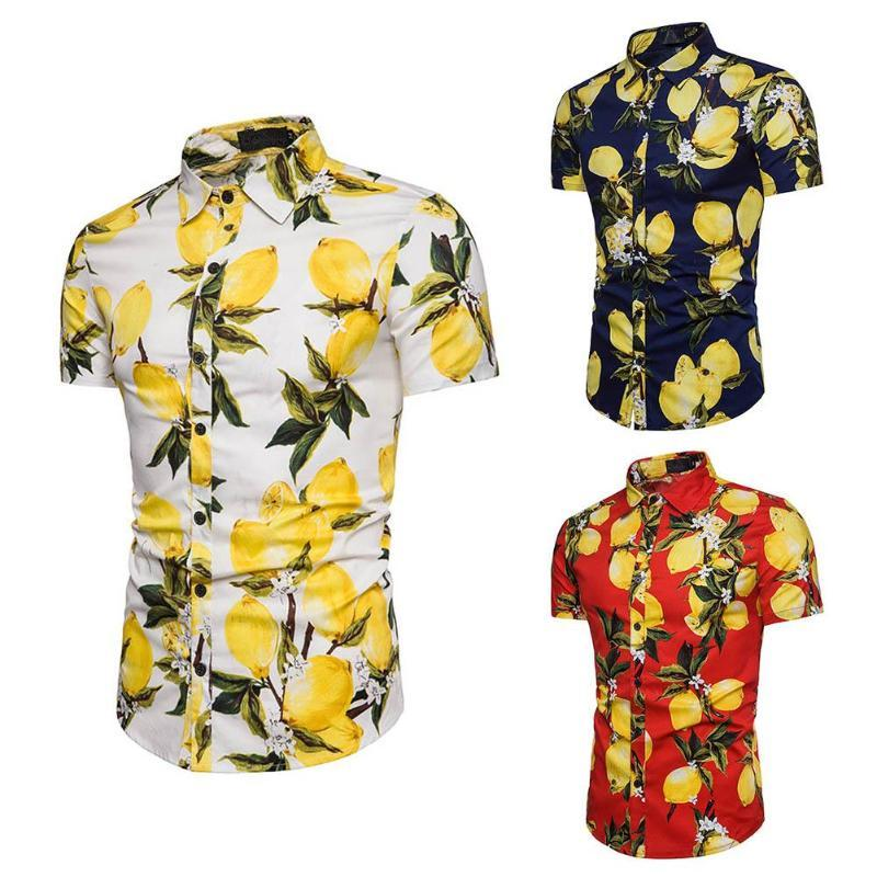 Mens Hawaiian Shirt Male Casual Lemons Printed Beach Shirts Short Sleeve branddresslliy-dresslliy