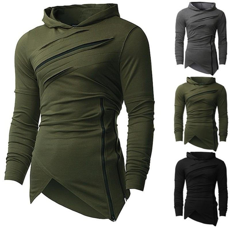 2018 fashion Hoodies Men Ripped Zip irregular Scratches Sweatshirts Mens Hip Hopdresslliy-dresslliy