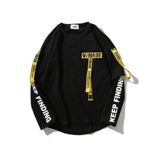 Hip hop hoodie men Webbing Letter printing Fake Two Loose O-Neck Longdresslliy-dresslliy