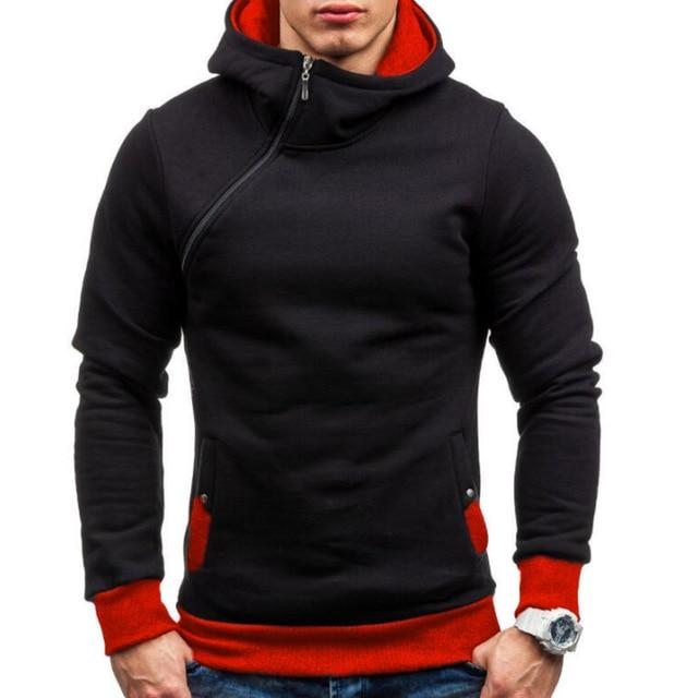 Brand 2018 Hoodie Oblique Zipper Solid Color Hoodies Men Fashion Tracksuit Maledresslliy-dresslliy
