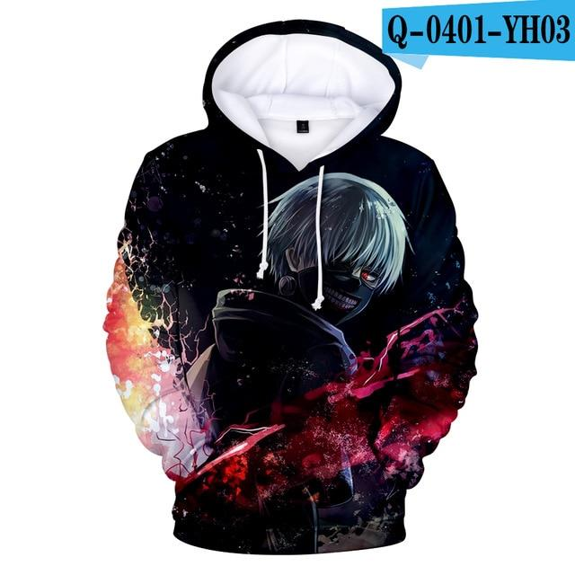 Tokyo Ghoul Hoodies 2017 New Fashion Funny Anime Hoodies and Sweatshirts 3ddresslliy-dresslliy