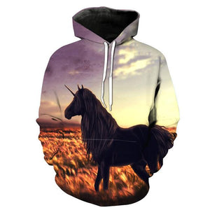 2018 New Fashion Sweatshirt Men / Women 3d Hoodies Print Yellow horsedresslliy-dresslliy