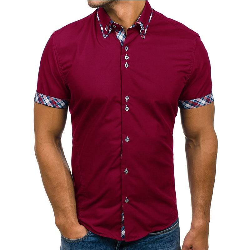 Wholesale Men Shirt 2018 Brand Fashion Casual Slim Short Sleeve Dress Shirtdresslliy-dresslliy