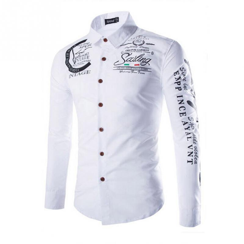 Fashion Men Sleeve Shirt Turn-down Collar Letters Printed Shirt Stylish Slim Fitdresslliy-dresslliy