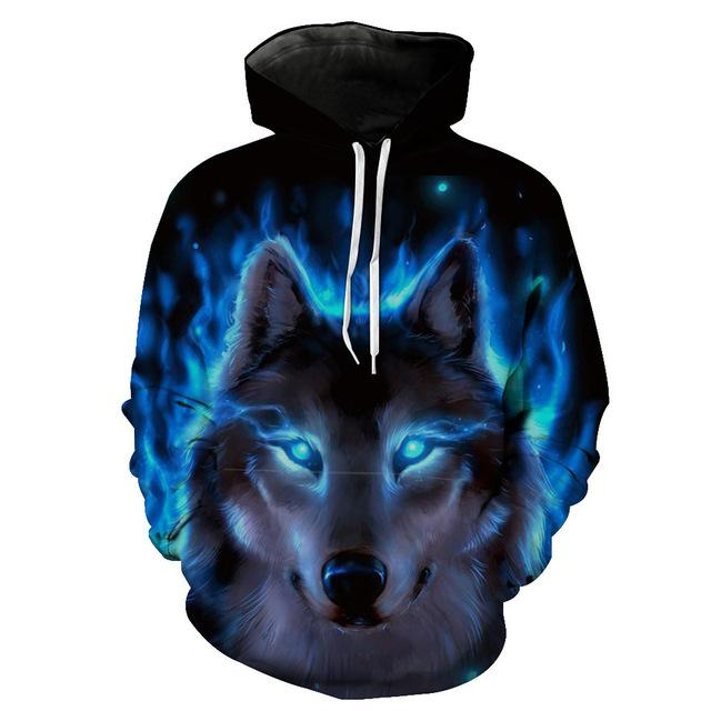 2018 New Tracksuits Hot Sale Brand Wolf Print Hoodies Men 3D Sweatshirtdresslliy-dresslliy