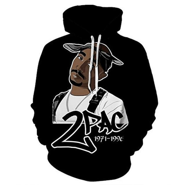 Hip Hop 2pac 3d Hoodie Sweatshirt For Men Spring Pullovers Print Rapperdresslliy-dresslliy