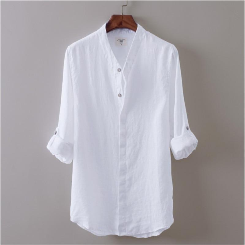 Stylish Men clothes Cotton long sleeve V-neck Button Beach Shirts Casual soliddresslliy-dresslliy