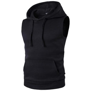 Men's sweatshirt Brand Autumn And Spring Hoodies With Hat Men Sleeveless Hipdresslliy-dresslliy