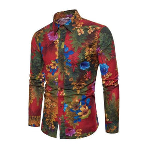 Fashion Spring Autumn Casual Men Shirt Slim Fit Flower Print Linen Shirtdresslliy-dresslliy