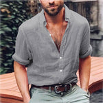 Hot Men's Linen Shirts V-neck Summer Casual Shirt Loose Plain Basic Soliddresslliy-dresslliy