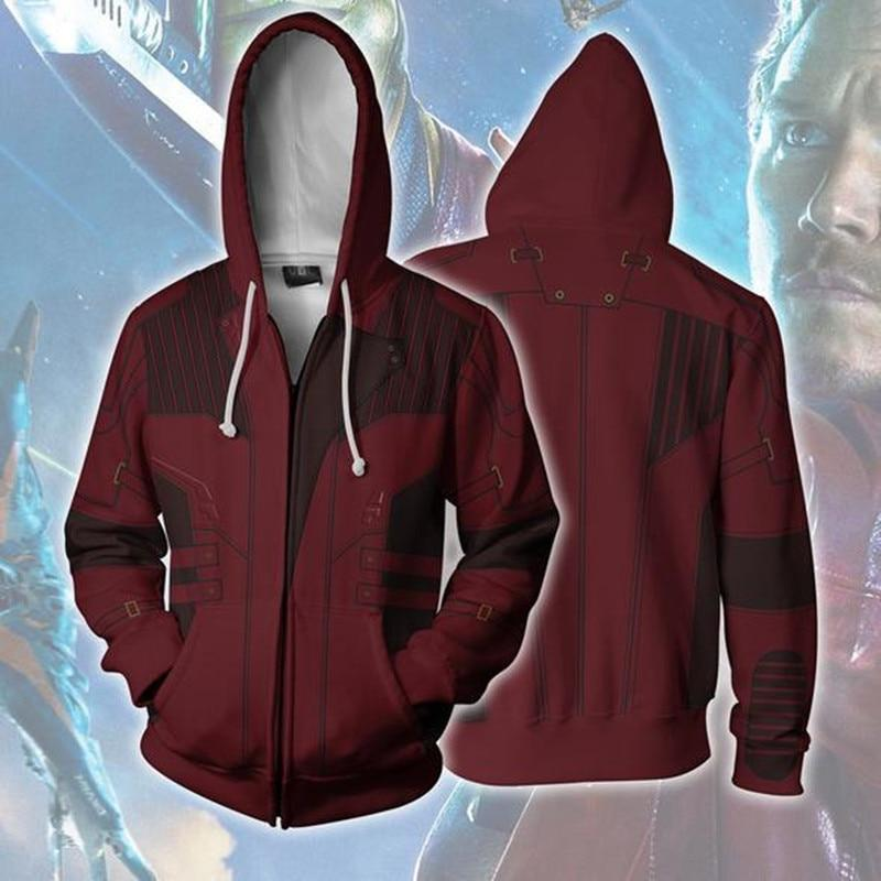 2018 Man 3D Printed Star Lord Infinity War Zip Up Hoodie Sweatshirtsdresslliy-dresslliy