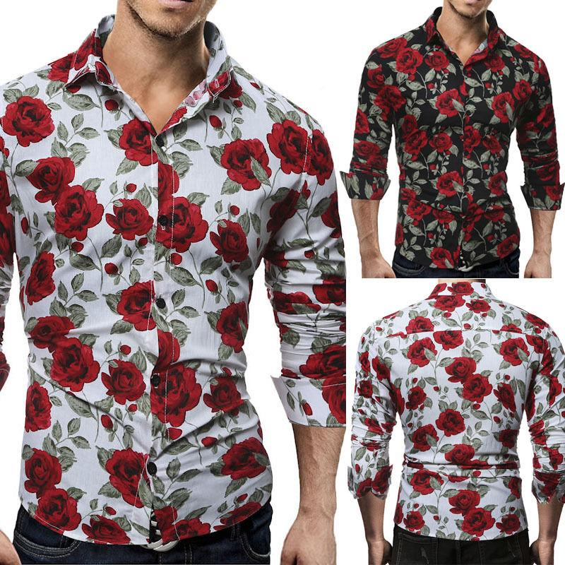 New Men's Luxury Long Sleeve Tops Tee Slim Fit Casual Rose Flowerdresslliy-dresslliy