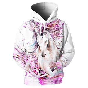 New 3D Hoodies Men Horse Colorful Paint 3D Print Long Sleevedresslliy-dresslliy