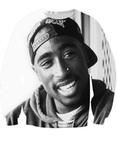 Raisevern new summer harajuku 2pac tupac sweatshirt 3D long sleeve o neckdresslliy-dresslliy