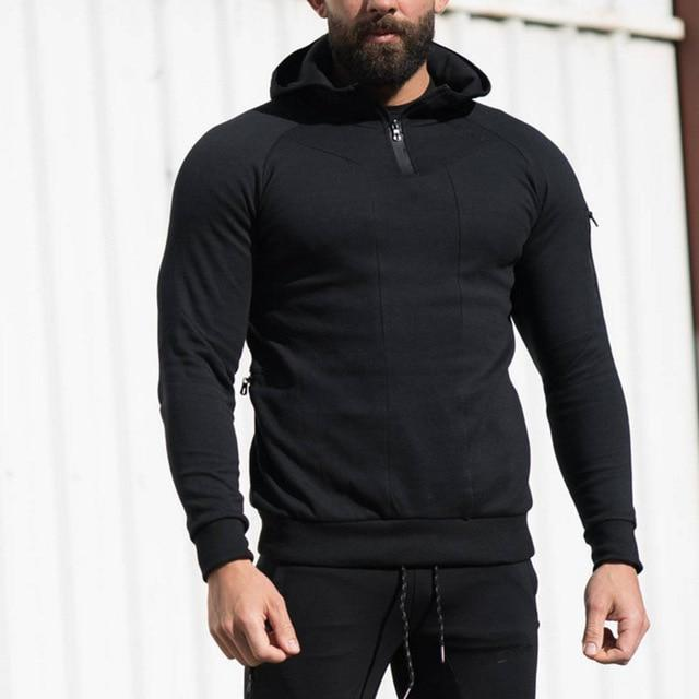 2018 Autumn New Men zipper Hoodies Fashion Casual Gyms Fitness Hooded Jacketdresslliy-dresslliy