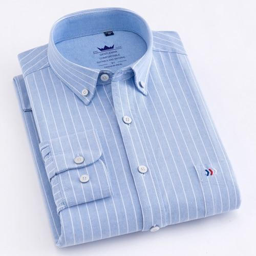 Men's Long Sleeve Plaid Striped Dress Shirts Single Front Chest Pocket Regulardresslliy-dresslliy