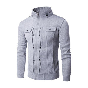 Mens Jackets Basic Coats Solid Color Jacket Male Casual Stand Collar Cottondresslliy-dresslliy