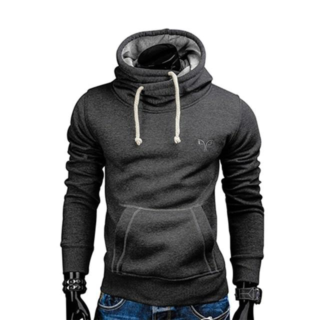2018 New Spring Autumn Hoodies Men Fashion Brand Pullover Solid Color Turtleneckdresslliy-dresslliy