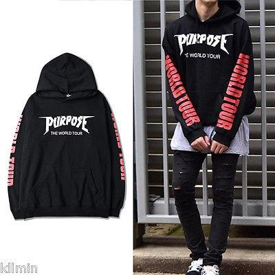USA 2017 Justin Bieber Purpose The World Tour Hoodie Sweatshirt Black Unisexdresslliy-dresslliy