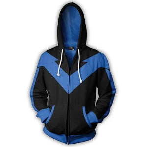 2018 Autumn Winter 3D Print Nightwing Hoodies Sweatshirts Fashion Cosplay Casual Zipperdresslliy-dresslliy
