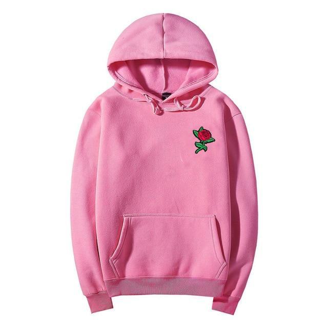 Drop Shipping Autumn Winter Rose Hoodies Men's Sweatshirts Rose Embroidery Cotton Mendresslliy-dresslliy