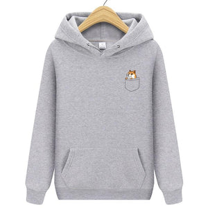 New Men Hoodies Pocket Cat Letter Printed Casual Hoodies Mens Fleece Fashiondresslliy-dresslliy