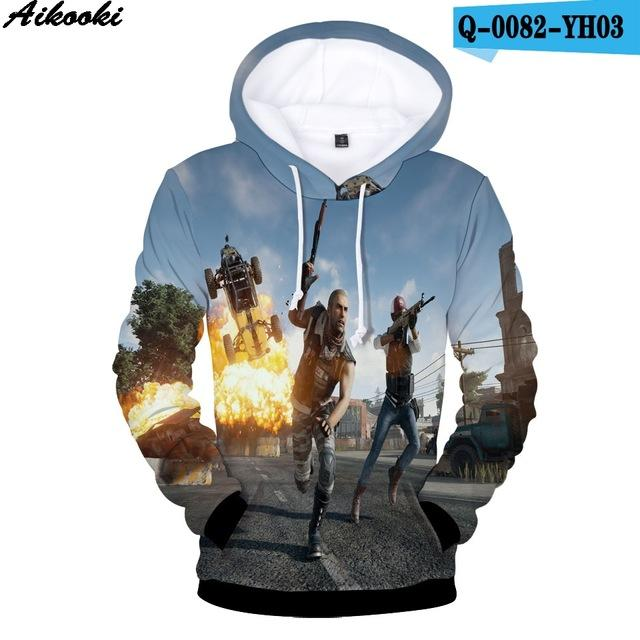 Aikooki High Quality 3D Hoodies Men/women Hot Game PUBG Playerunknown's Battlegrounds Fashiondresslliy-dresslliy