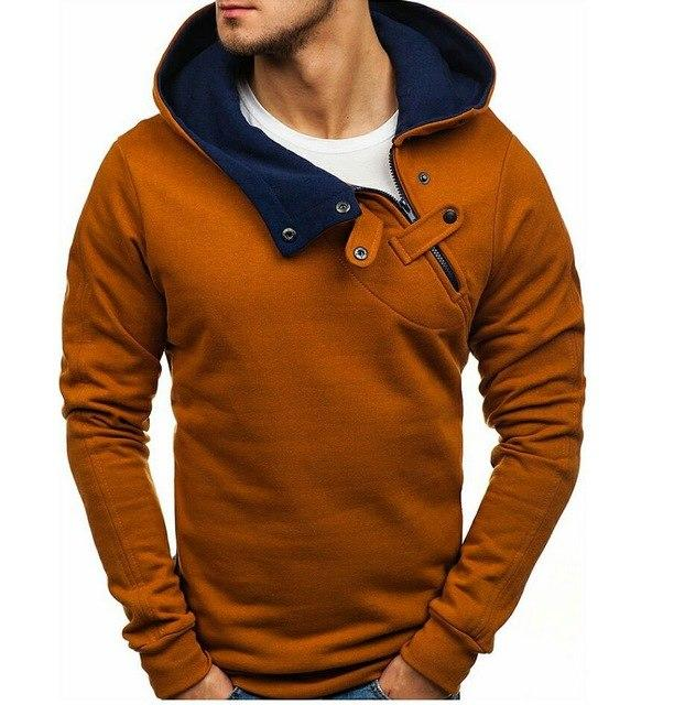 Hoodies Men 2018 Male Long Sleeve Hoodie Features Button Decoration Sweatshirt Hipdresslliy-dresslliy
