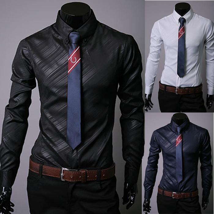 2014 New Brand Plus Size Fashion Geometric Strip Mens Dress Shirts Long-sleevedresslliy-dresslliy
